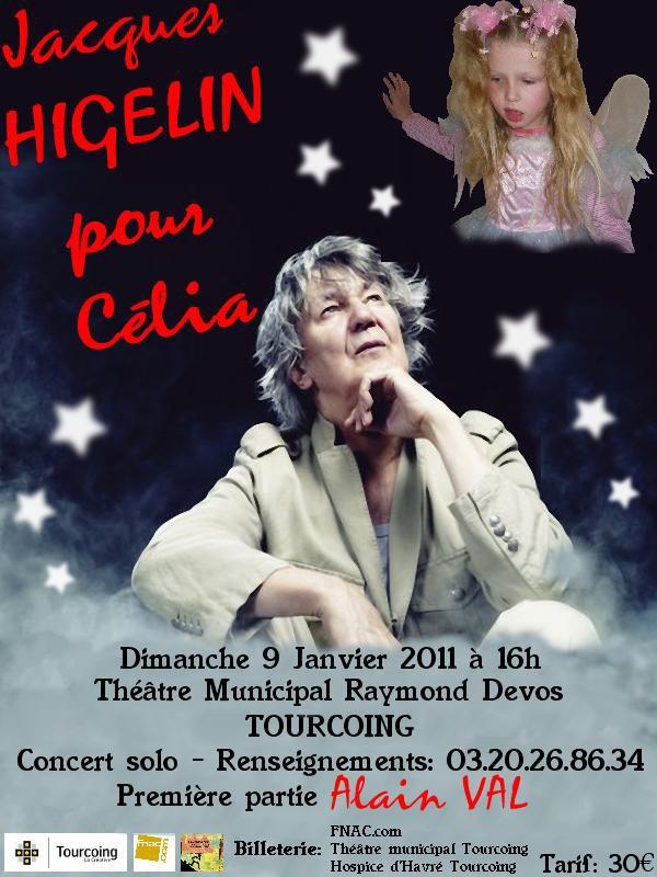 ALAIN VAL et JACQUES HIGELIN en concert à TOURCOING le 09 janvier pour CELIA