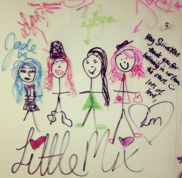 """Les filles ont laissé un mot sur le """"Wall of Fame"""" à la radio """"SiriusXMHits"""" : ♥ #Mixerement"""