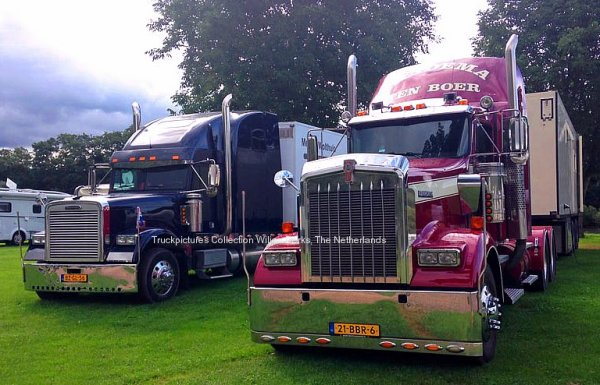 Kenworth W900 and Freightliner Classic in Klusserath, Germany