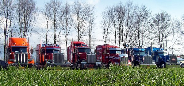 US Heavy Duty Trucks in a line up, The Netherlands