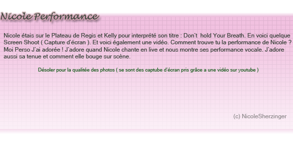 Nicole chante Don't Hold Your Breath sur le plateau de : Regis & Kelly