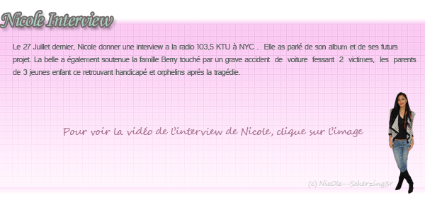 Interview de Nicole par la radio 103.5 KTU à NYC