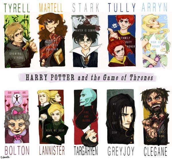 Mélange entre Harry Potter et Game of Thrones