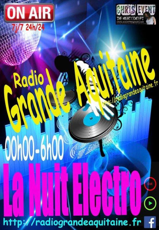 ?Énorme cadeau ce soir de la part de Dj Chris V!!!!!!?  Restez à l écoute, et venez profité d une nuit complète dans le mix... Tout genres electro/dance/Clubbing seront visité durant tout le long de la nuit. C est un RDV à ne pas manquer sur Radio Grande Aquitaine et c est cadeau!!!!  ➡ http://radiograndeaquitaine.fr