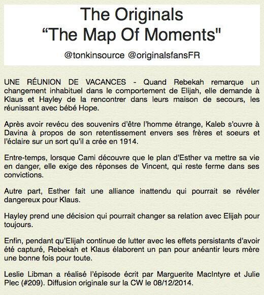"The Originals : Le synopsis du 2x09 intitulé "" The Map of Moments """