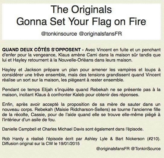 """The Originals : Le synopsis de l'épisode du 2x10 intitulé """" Gonna Set Your Side On Fire"""
