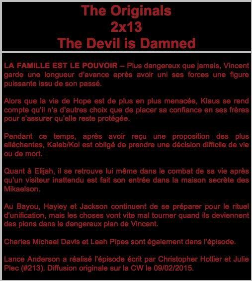 """The Originals : Le synopsis du 2x13 intitulé """" The Devil Is Damned """""""