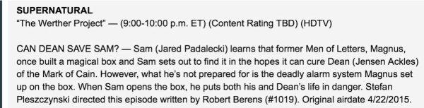 Supernatural : Voici le synopsis de l'épisode qui sera diffusé le 22 avril
