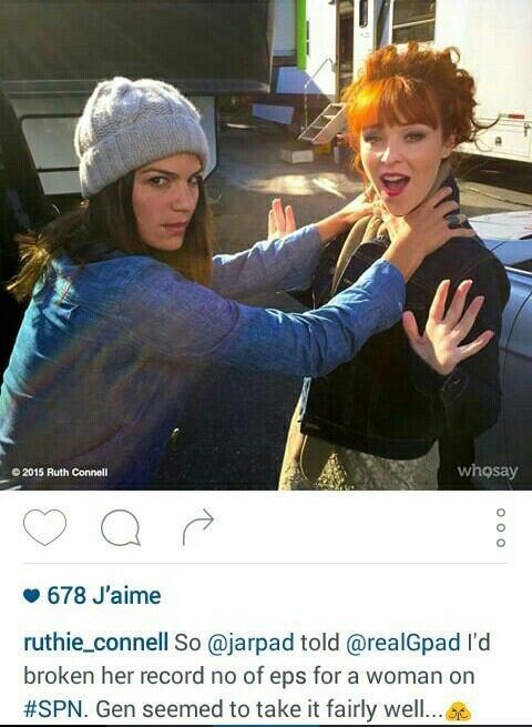Supernatural : Geneviève ( Ruby dans la saison 4 / la femme de Jared ) était avec Ruth et Jared sur le tournage de la saison 11 , hier