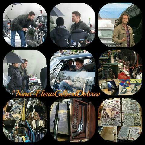 Supernatural : Voici de nouvelles photos de tournage où l'on voit Jensen et Jared ainsi que des photos durant leurs interviews !