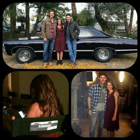 Supernatural : Voici des photos de Jared , Jensen, de l'adolescente Amara et de la chevrolet Impala de 1967 sur le tournage