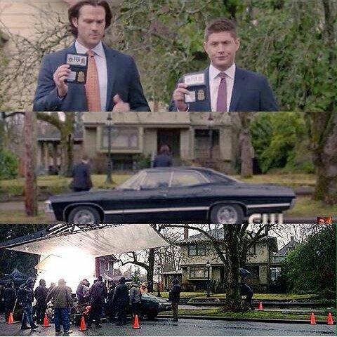 """Supernatural : Voici deux photos de tournage, une correspondant à la scène de l'épisode de mercredi ( 11x16 """" Safe House ) et la seconde correspondant à Jensen qui interprète Dean maquillé pour jouer une scène où Bobby voit Sam et Dean morts !"""