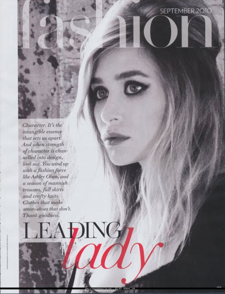 Ashley Olsen pour le Fashion magasine, Septembre 2010