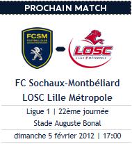 Sochaux - Lille, dimanche 17h, REPORTE