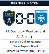 Sochaux 0-0 Auxerre, samedi 19h.