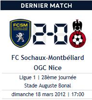 Sochaux - Nice, dimanche 17h.