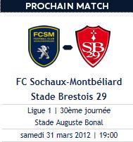 Sochaux 2-1 Brest, samedi 19h ! :)