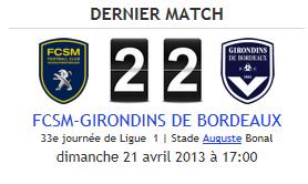 Sochaux 2-2 Bordeaux, 33° journée