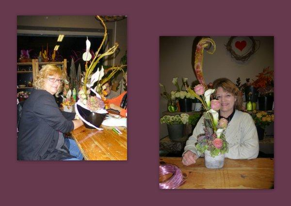 """Les 2 Titines à l'art floral  à    """"La Pensée Aubange """"  :) :)"""