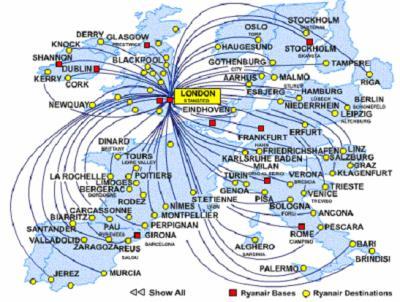carte europe ryanair