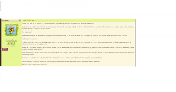 Réponse de Sylf au sujet du bug de l'almanax