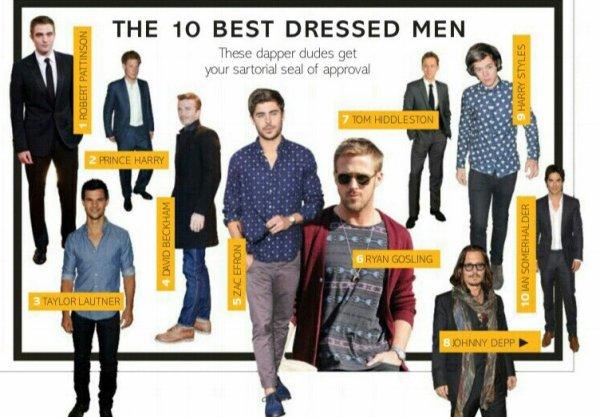 Classement des Hommes les mieux s'habiller selon Glamour Magazine
