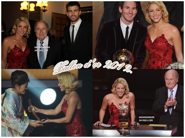 09.01.12. Shakira à la cérémonie du ballon d'or dont Messi en est le gagnant ♥ , c'est Shak qui a remis l'award à la meilleure joueuse de football féminin. J'ai regardé la cérémonie c'était KIFFANT et Shakira était toujours aussi magnifique.