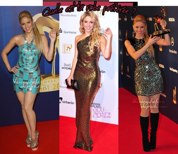 """Shakira a plusieurs reprises, à la cérémonie """" Bambi Awards """" Elle est SUBLIME, j'adore."""