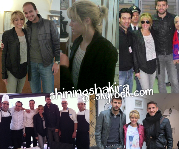 12.03.12 Shakira et Gérard en Italie, super mignons ensemble ils ont du bien profiter. (Candid)  On peut les voir avec Gaston Ramirez, le personnel d'un restaurant, et le directeur de l'hôtel.