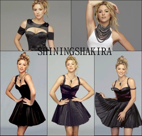 20.03.12 Shakira sortant d''un salon de coiffure à Barcelone. Elle est très jolie, j'adore. (Candid) Elle porte un legging noir, avec une tunique blanche et noire par dessus une veste noir et des talons noirs.TOP