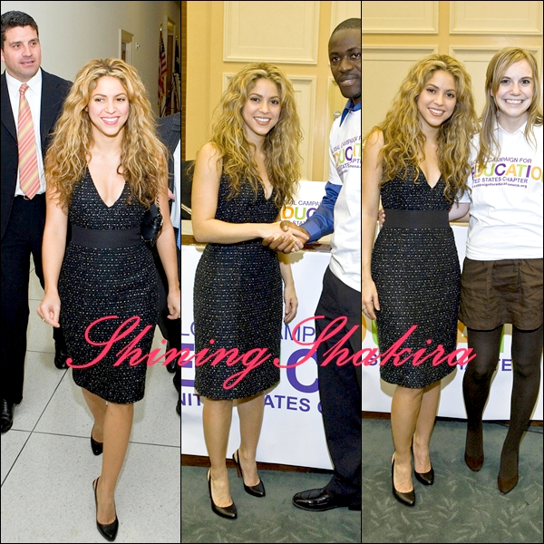 "22.04.08 : Shakira à la "" Global Campaign for Education in Washington ""  (Apparances) Vêtue d'une très belle robe noire pailletée + des talons noirs. Son make-up et sa coupe, j'adore.TOP!"