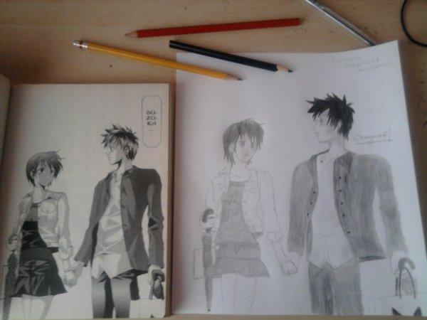 DESSIN du manga''SUZUKA''(Chapitre12) -A droite c'est le manga, et a gauche c'est mon dessin :D