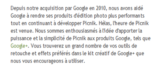Fermeture Picnik :/