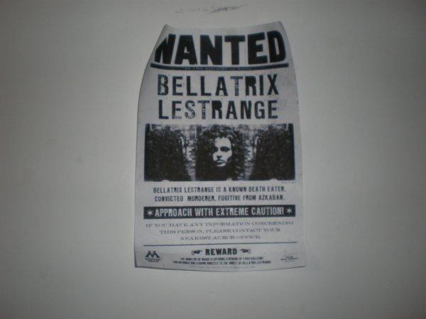 Voici le WANTED de Bellatrix lestrange