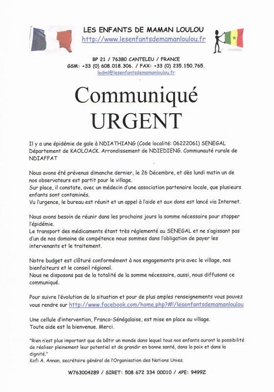 Communiqué URGENT concernant une épidémie de gale à NDIATHIANG