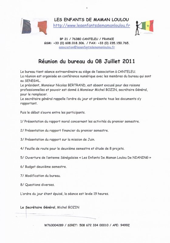 Réunion du bureau du 08 Juillet 2011
