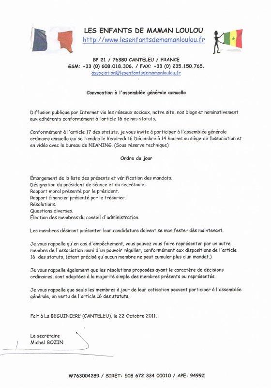 """Convocation à l' Assemblée Générale """" Les Enfants De Maman Loulou """" à NIANING"""