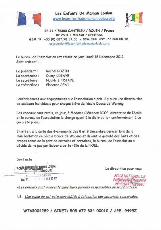 Réunion du 18 Décembre 2012