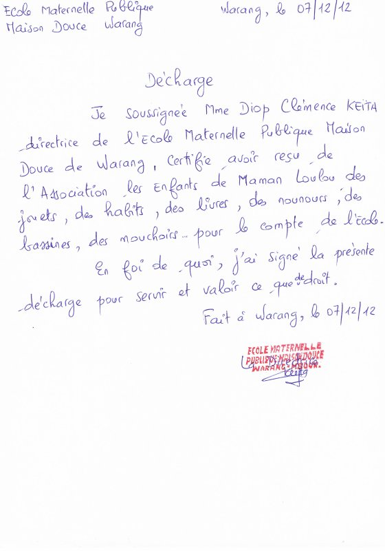 Attestation de l'école Douce de Warang pour remise de dons