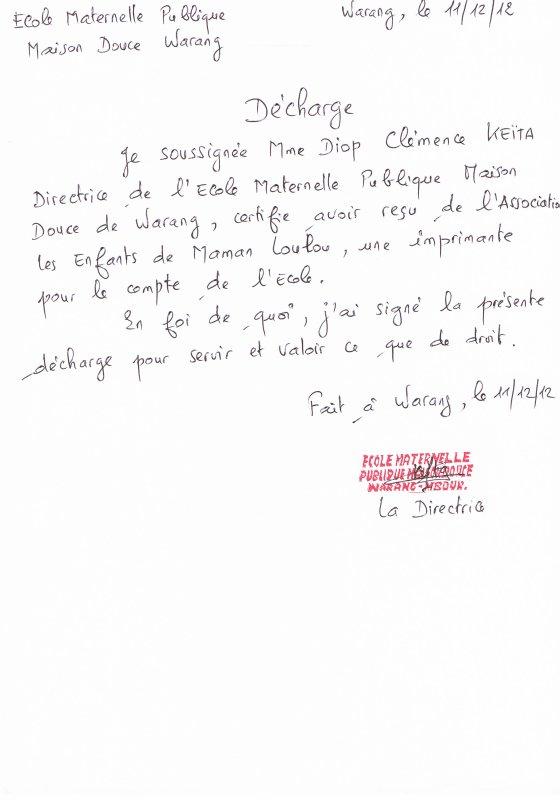 Attestation de l'école Douce de Warang pour remise d'une imprimante