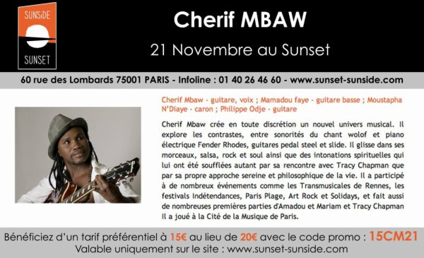 cherif mbaw en concert au sunset paris