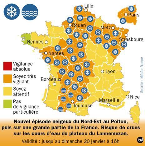 55 départements en vigilance orange.