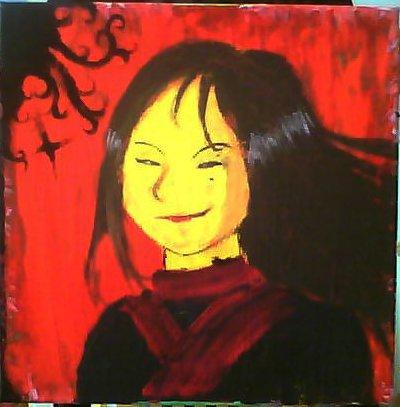 Jeune fille asiatique en kimono sur fond rouge (I did it!)