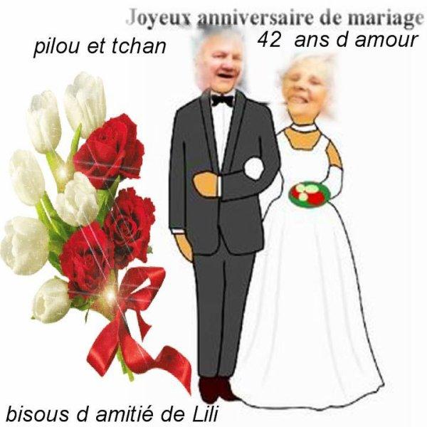 LE MARDI 8 MAI 2018 Fêtons nos 42 ans de mariage & noces de NACRES 1976 / 2018