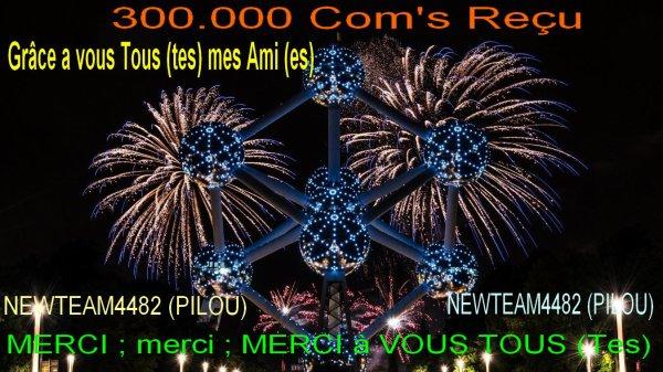 LA GRANDE LIGNE DROITE POUR MES 300.000 Com's Reçu et cela Grâce a vous Tous (tes)