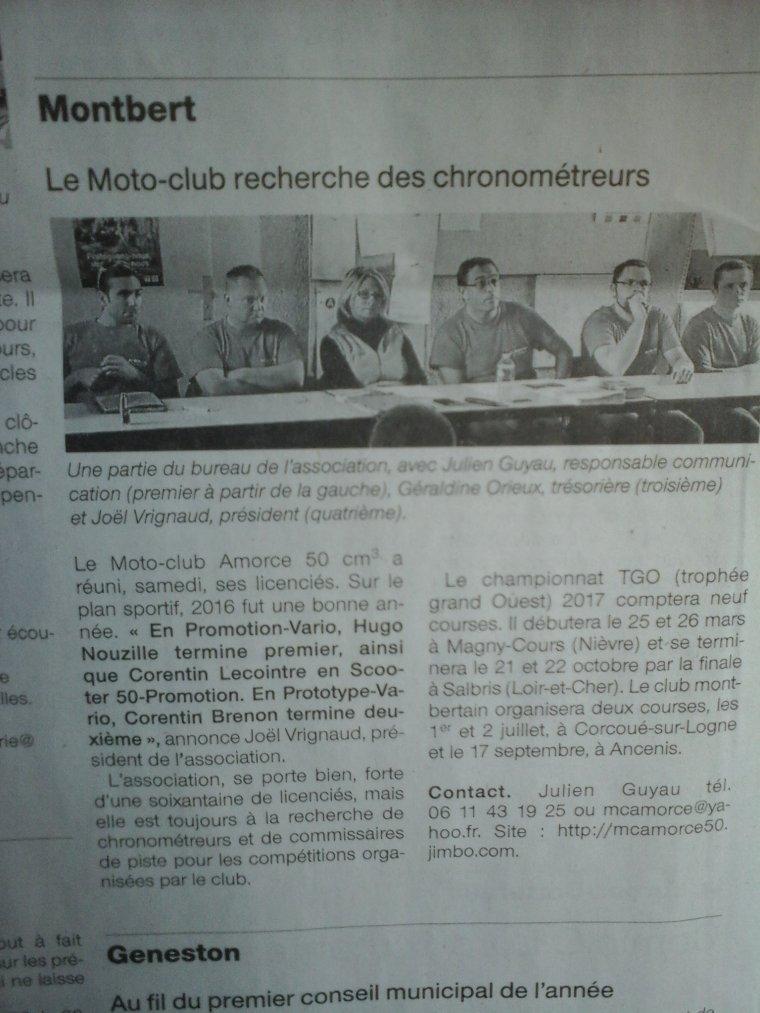 Article de Presse suite à notre Assemblée Générale Mc Amorce 50