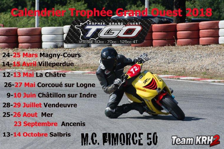 Dates du Calendrier officiel Trophée Grand Ouest 2018