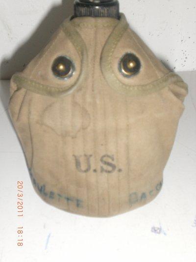gourde us + quart + housse tous originaux datés 1942 trouvés dans un vide grenier