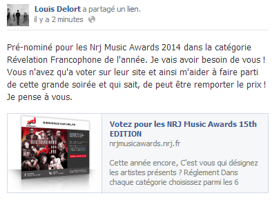 Actu du 21.10.13 Louis pré-nominé aux NRJ Music Awards !
