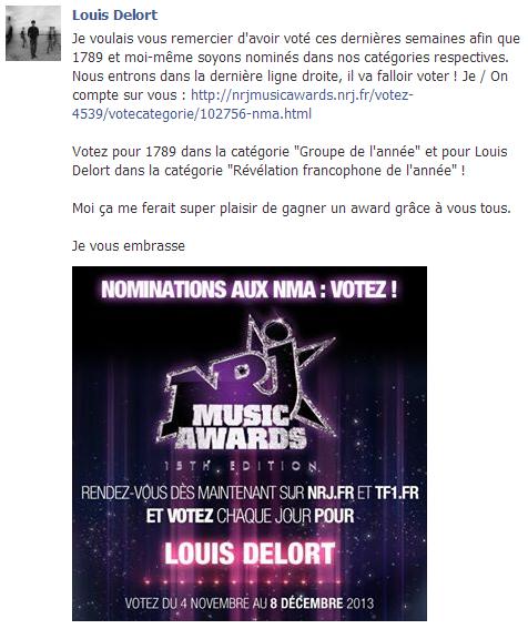 Actu du 04.11.13 Louis nominé aux NMA !
